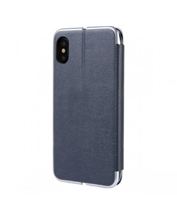 iPhone Slim Leather Book Style Flip Case - Grey