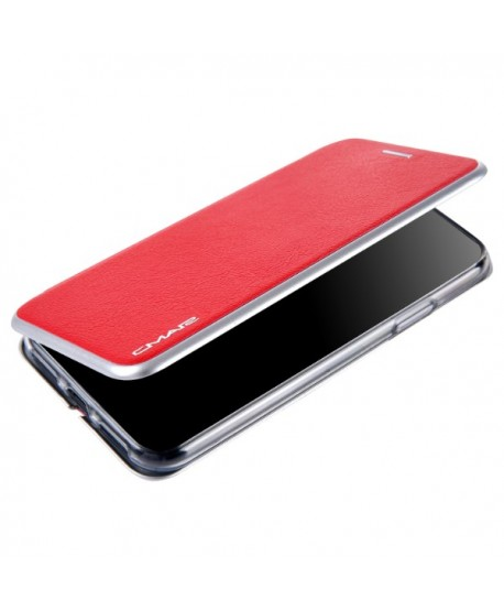iPhone Slim Leather Book Style Flip Case - Red
