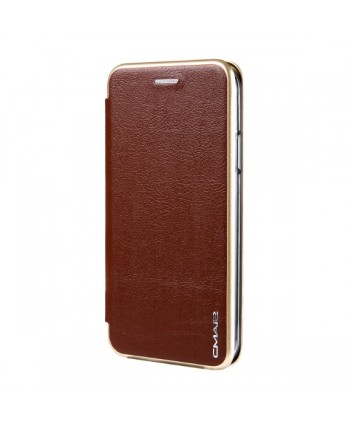 iPhone Slim Leather Book Style Flip Case - Brown