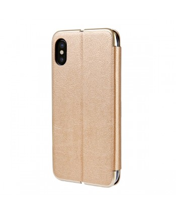 iPhone Slim Leather Book Style Flip Case - Gold