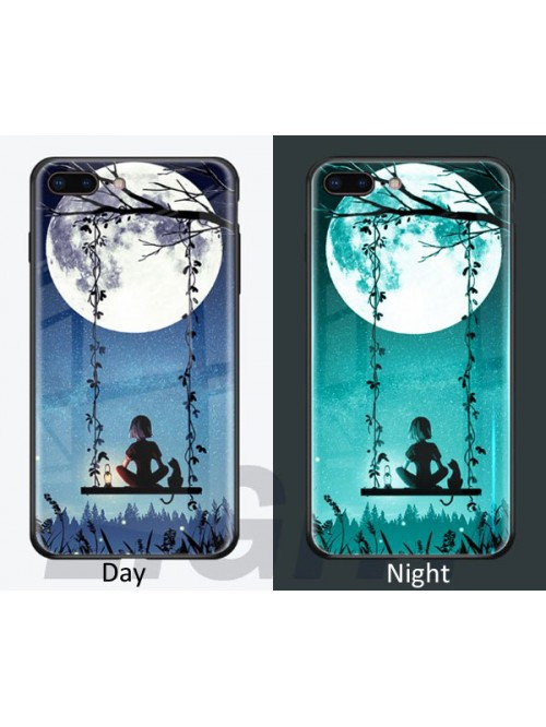 Luminous Tempered Glass Iphone Case - A Person,A Cat, A Swing