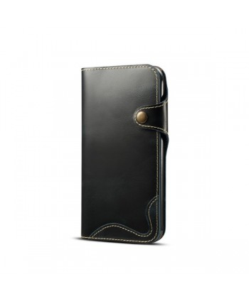 iPhone Vintage Genuine Leather Wallet Case - Black