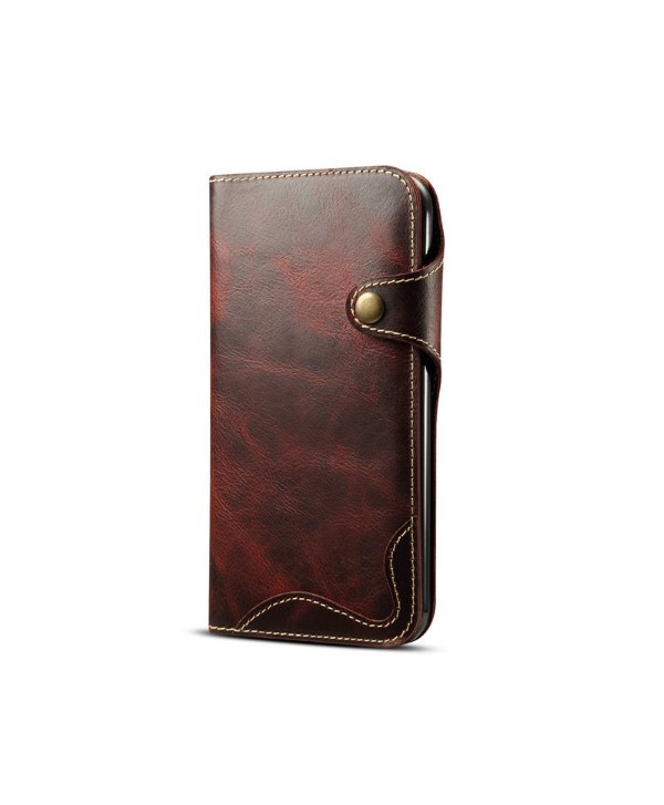 iPhone Vintage Genuine Leather Wallet Case - Red