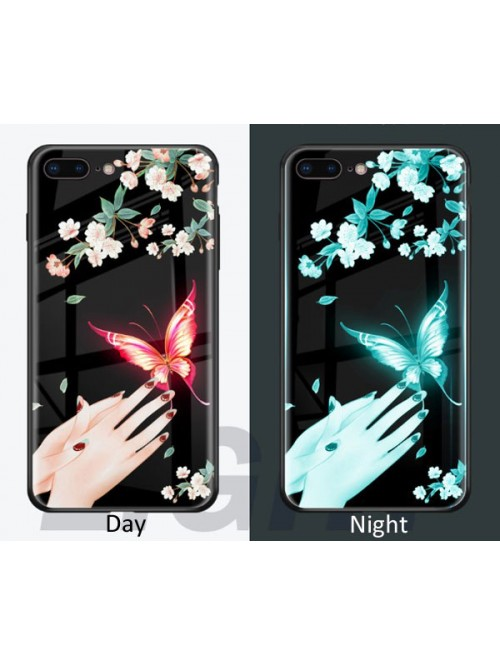 Luminous Tempered Glass IPhone Case - Butterflies Play Among Flowers (2 Pieces Included)