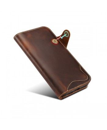 iPhone Vintage Genuine Leather Wallet Case - Brown