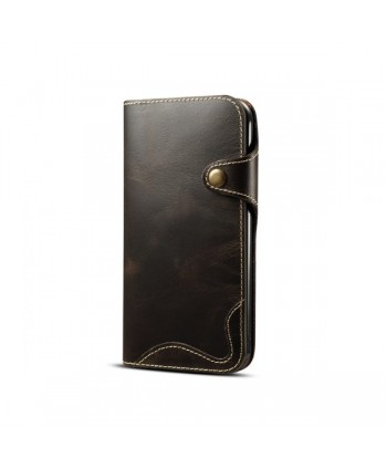 iPhone Vintage Genuine Leather Wallet Case - Navy Blue