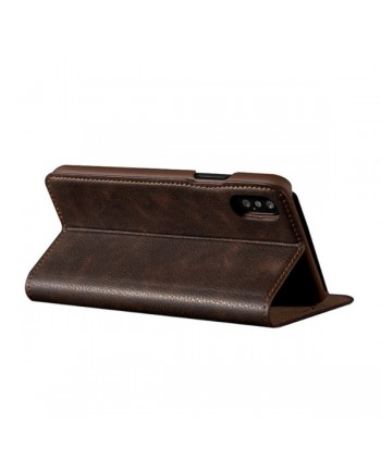 iPhone Handcrafted Vintage Crazy Horse Leather Folio Case - Brown