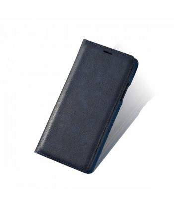 iPhone Handcrafted Vintage Crazy Horse Leather Folio Case - Navy Blue