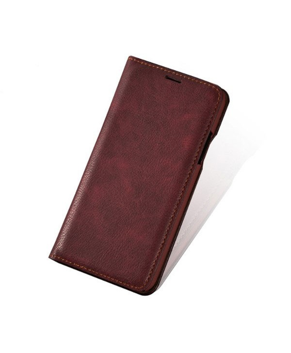 iPhone Handcrafted Vintage Crazy Horse Leather Folio Case - Red