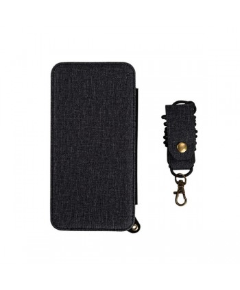 iPhone Handcrafted Linen Wallet Back Case With Mirror - Black