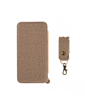 iPhone Handcrafted Linen Wallet Back Case With Mirror - Gold