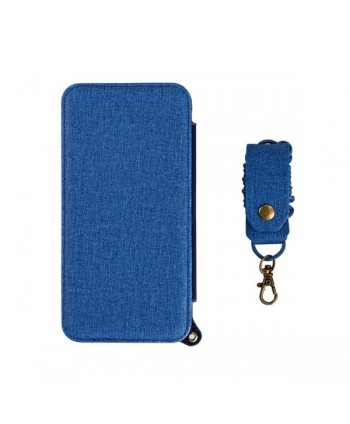 iPhone Handcrafted Linen Wallet Back Case With Mirror - Blue