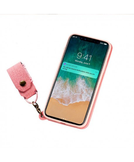 iPhone Handcrafted Linen Wallet Back Case With Mirror - Pink
