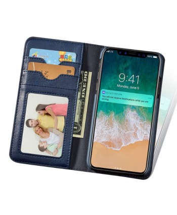 iPhone Handcrafted Leather Wallet Folio Case With Rotate Card Pack - Navy Blue
