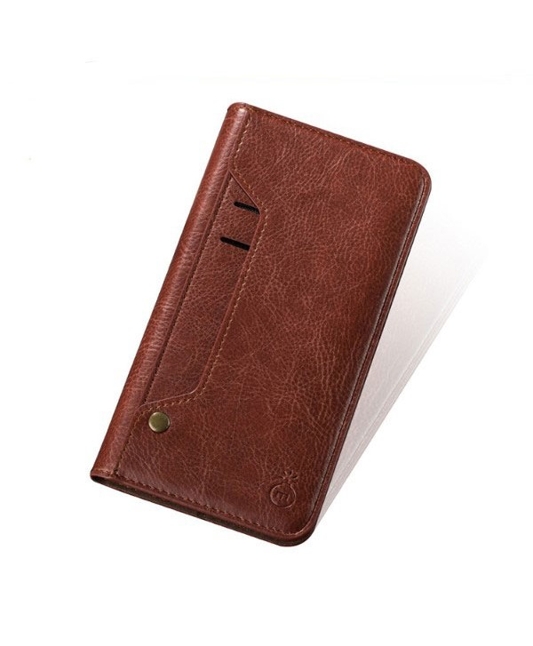 iPhone Handcrafted Leather Wallet Folio Case With Rotate Card Pack - Dark Brown