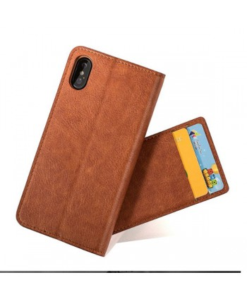 iPhone Handcrafted Leather Wallet Folio Case With Rotate Card Pack - Brown