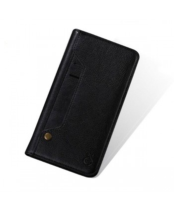iPhone Handcrafted Leather Wallet Folio Case With Rotate Card Pack - Black