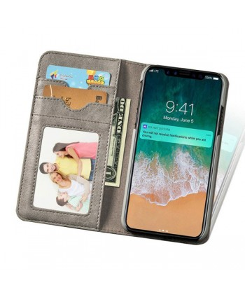iPhone Handcrafted Leather Wallet Folio Case With Rotate Card Pack - Grey