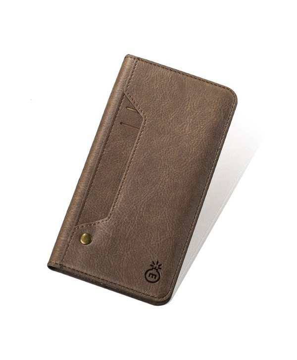 iPhone Handcrafted Leather Wallet Folio Case With Rotate Card Pack - Light Brown