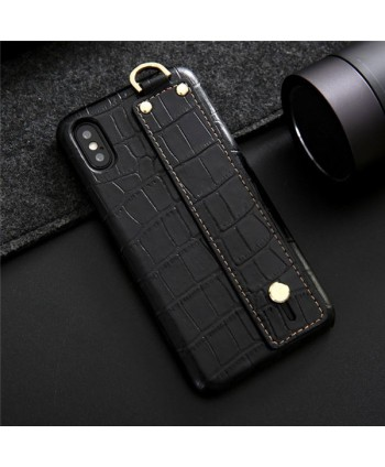 iPhone Crocodile Grain Genuine Leather Case With Strap - Black