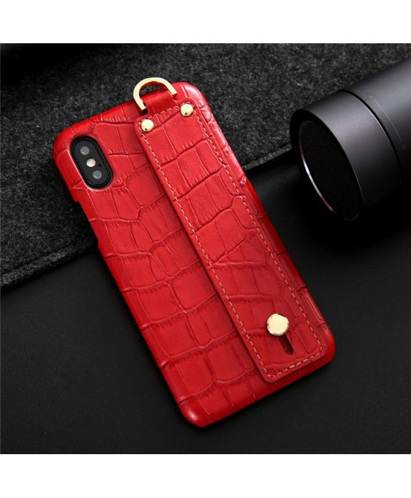 iPhone Crocodile Grain Genuine Leather Case With Strap - Red