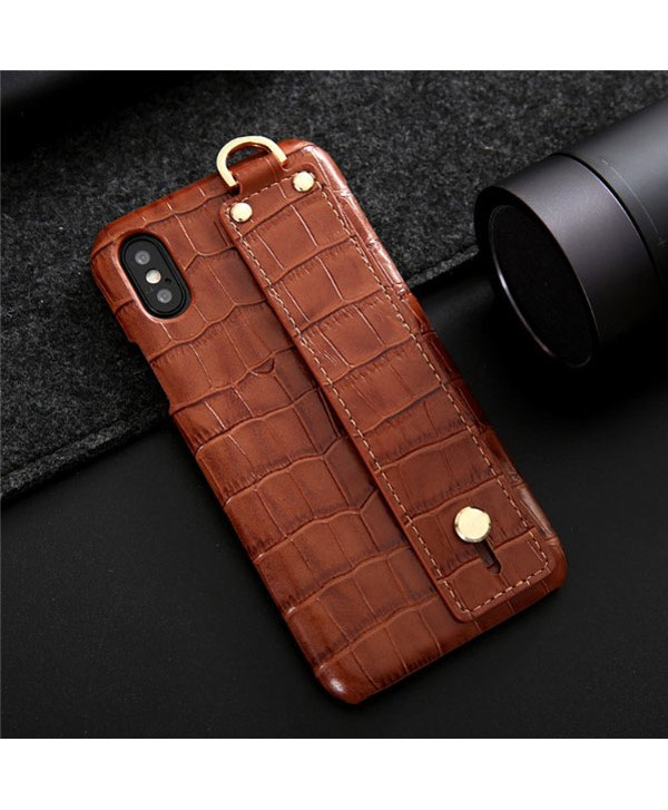 iPhone Crocodile Grain Genuine Leather Case With Strap - Brown