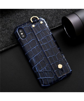 iPhone Crocodile Grain Genuine Leather Case With Strap - Blue