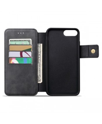 iPhone Handcrafted Leather Wallet Flip Case - Black