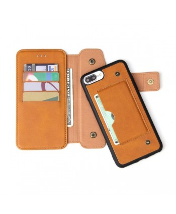 iPhone Handcrafted Leather Wallet Flip Case - Brown