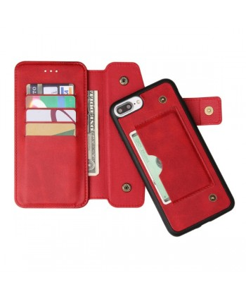 iPhone Handcrafted Leather Wallet Flip Case - Red