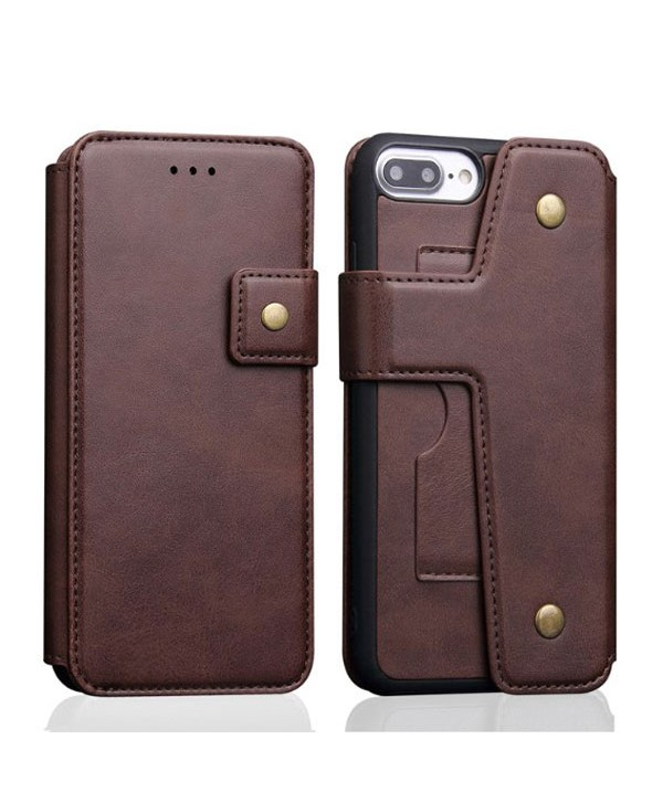 iPhone Handcrafted Leather Wallet Flip Case - Dark Brown