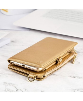 iPhone Handcrafted Leather Wallet Case With Zipper Pocket - Gold
