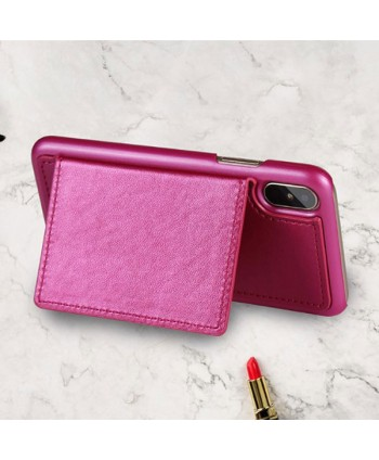 iPhone Handcrafted Leather Wallet Case With Zipper Pocket - Rose Red