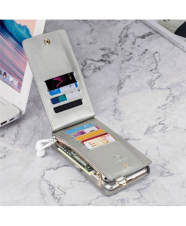 iPhone Handcrafted Leather Wallet Case With Zipper Pocket - Silver