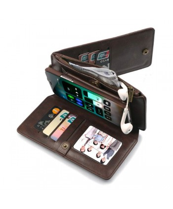 iPhone Magnetic Detachable Leather Wallet Case With Zipper Pocket - Dark Brown