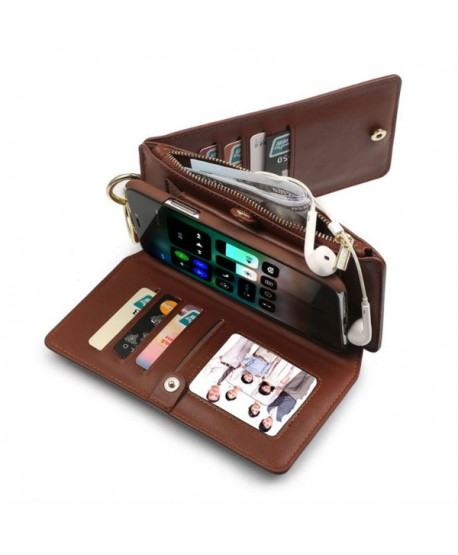 iPhone Magnetic Detachable Leather Wallet Case With Zipper Pocket - Brown