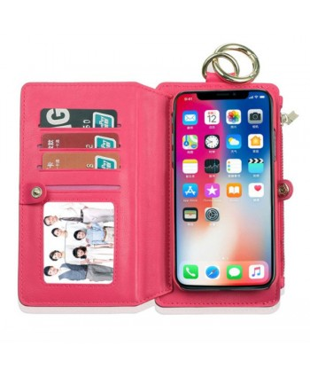 iPhone Magnetic Detachable Leather Wallet Case With Zipper Pocket - Rose Red