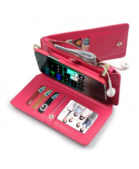 the best attitude 28aca d2e5f iPhone Magnetic Detachable Leather Wallet Case With Zipper Pocket - Rose Red