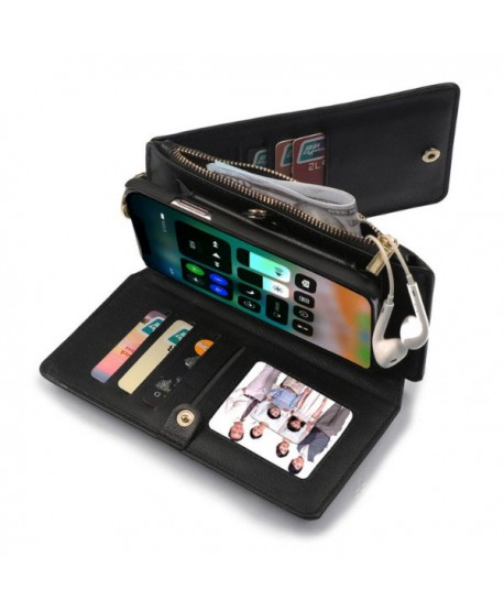 iPhone Magnetic Detachable Leather Wallet Case With Zipper Pocket - Black