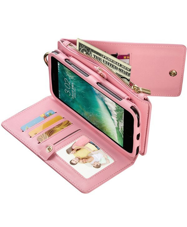 iPhone Magnetic Detachable Leather Wallet Case With Zipper Pocket - Pink