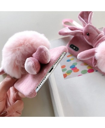 iPhone Winter Pink 3D Fuzzy Bunny Case