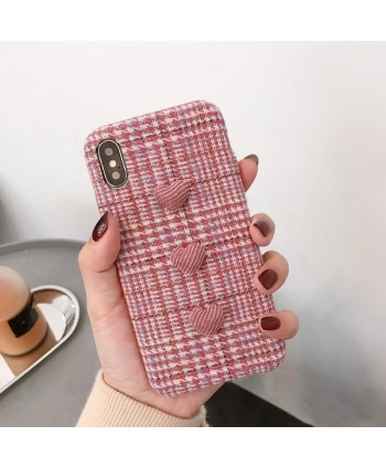 iPhone Pink Flannelette 3D Hearts Protective Case