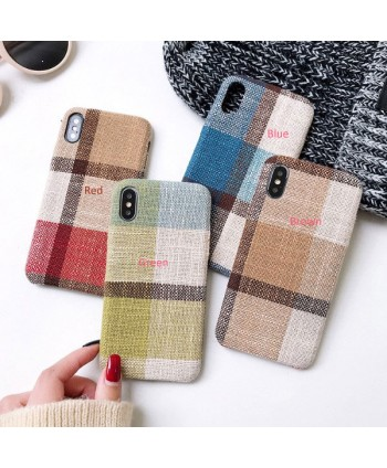 iPhone X Cotton Linen Fabric Geometric Lattice Case