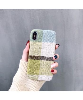 iPhone X Cotton Linen Fabric Geometric Lattice Case