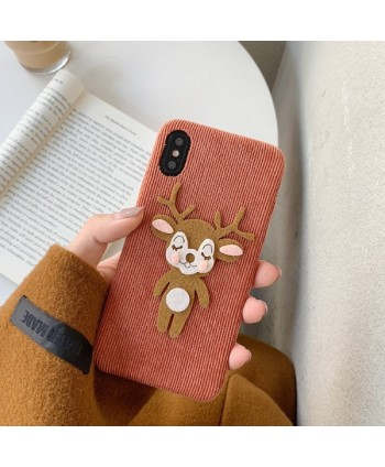 iPhone X Corduroy Cartoon Reindeer Protective Case