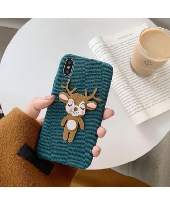 iPhone X Corduroy Cartoon Reindeer Protective Case