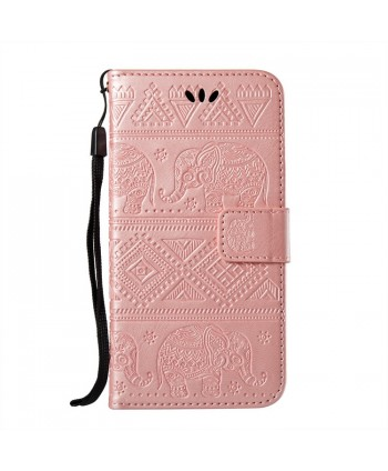 iPhone Elephant Embossed Leather Wallet Folio Case - Rose Gold