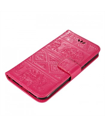 iPhone Elephant Embossed Leather Wallet Folio Case - Rose Red