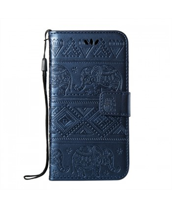 iPhone Elephant Embossed Leather Wallet Folio Case - Blue