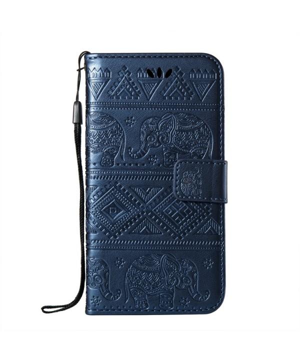iPhone Elephant Embossed Leather Wallet Folio Case - Blue